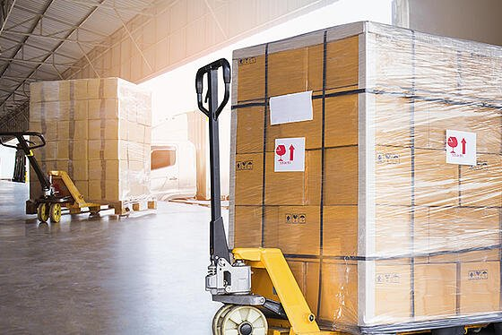 Crated freight shipments in a warehouse.